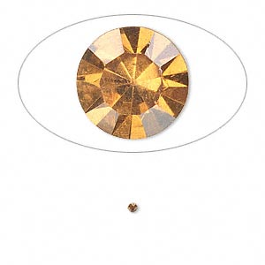 chaton, glass rhinestone, amber yellow, foil back, 1.4-1.5mm faceted round, pp8. sold per pkg of 72.