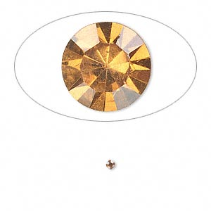 chaton, glass rhinestone, amber yellow, foil back, 1.8-1.9mm faceted round, pp12. sold per pkg of 72.