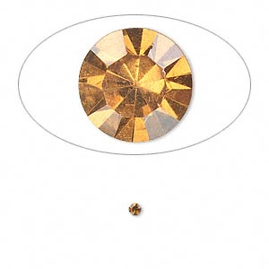 chaton, glass rhinestone, amber yellow, foil back, 1.9-2.0mm faceted round, pp13. sold per pkg of 72.