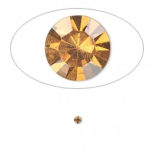 chaton, glass rhinestone, amber yellow, foil back, 2.0-2.1mm faceted round, pp14. sold per pkg of 72.