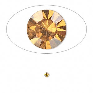 chaton, glass rhinestone, amber yellow, foil back, 2.1-2.2mm faceted round, pp15. sold per pkg of 72.