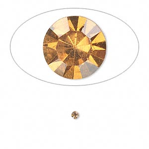 chaton, glass rhinestone, amber yellow, foil back, 2.2-2.3mm faceted round, pp16. sold per pkg of 72.