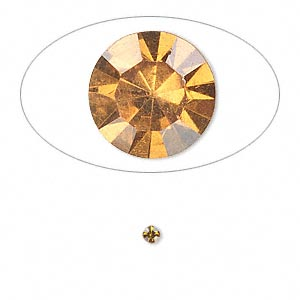 chaton, glass rhinestone, amber yellow, foil back, 2.4-2.5mm faceted round, pp18. sold per pkg of 72.