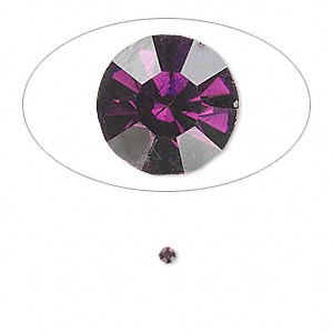 chaton, glass rhinestone, amethyst purple, foil back, 2.1-2.2mm faceted round, pp15. sold per pkg of 72.