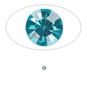 chaton, glass rhinestone, aqua blue, foil back, 2.0-2.1mm faceted round, pp14. sold per pkg of 72.