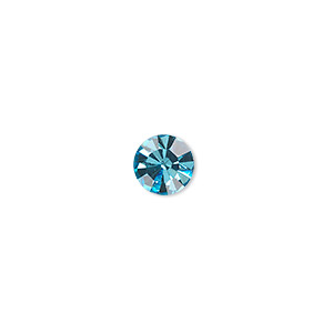 chaton, glass rhinestone, aqua blue, foil back, 7.93-8.16mm faceted round, ss38. sold per pkg of 12.