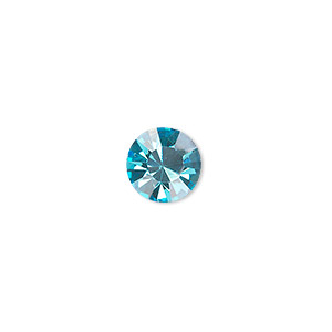 chaton, glass rhinestone, aqua blue, foil back, 9.9-10.2mm faceted round, ss45. sold per pkg of 4.