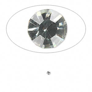 chaton, glass rhinestone, black diamond, foil back, 1.4-1.5mm faceted round, pp8. sold per pkg of 72.