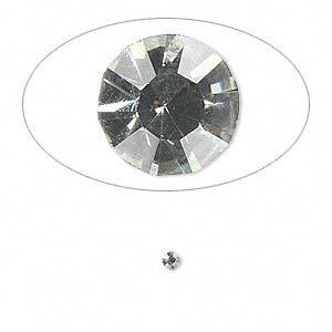 chaton, glass rhinestone, black diamond, foil back, 2.2-2.3mm faceted round, pp16. sold per pkg of 72.