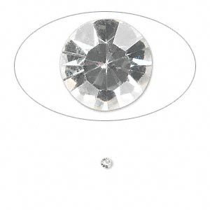 chaton, glass rhinestone, crystal clear, foil back, 2.2-2.3mm faceted round, pp16. sold per pkg of 72.