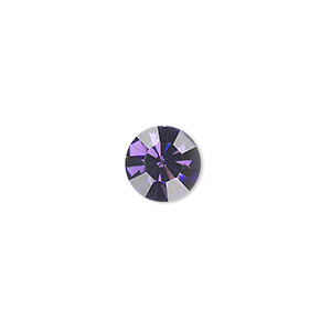 chaton, glass rhinestone, iris blue, foil back, 9.9-10.2mm faceted round, ss45. sold per pkg of 4.