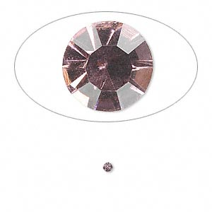 chaton, glass rhinestone, light amethyst purple, foil back, 1.9-2.0mm faceted round, pp13. sold per pkg of 72.