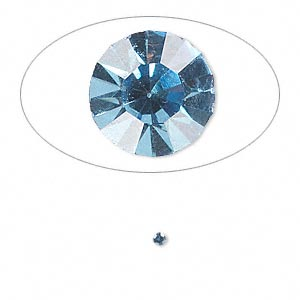 chaton, glass rhinestone, light sapphire blue, foil back, 1.8-1.9mm faceted round, pp12. sold per pkg of 72.