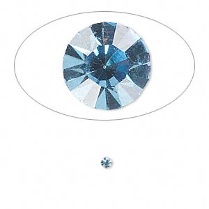 chaton, glass rhinestone, light sapphire blue, foil back, 2.2-2.3mm faceted round, pp16. sold per pkg of 72.