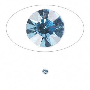 chaton, glass rhinestone, light sapphire blue, foil back, 2.4-2.5mm faceted round, pp18. sold per pkg of 72.