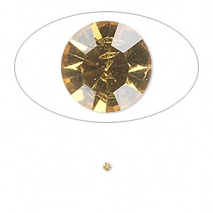 chaton, glass rhinestone, light topaz, foil back, 1.5-1.6mm faceted round, pp9. sold per pkg of 72.
