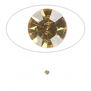 chaton, glass rhinestone, light topaz, foil back, 1.9-2.0mm faceted round, pp13. sold per pkg of 72.