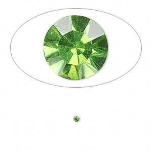 chaton, glass rhinestone, olivine, foil back, 1.6-1.7mm faceted round, pp10. sold per pkg of 72.