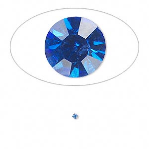chaton, glass rhinestone, sapphire blue, foil back, 1.4-1.5mm faceted round, pp8. sold per pkg of 72.