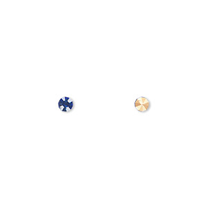 chaton, glass rhinestone, sapphire blue, foil back, 3-3.2mm faceted round, pp24. sold per pkg of 60.