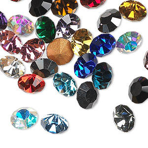 chaton mix, glass rhinestone, mixed colors, foil back, 4-4.1mm faceted round, pp32. sold per pkg of 48.