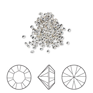 chaton, swarovski crystal rhinestone, crystal clear, foil back, 1.5-1.6mm xilion round (1028), pp9. sold per pkg of 1,440 (10 gross).