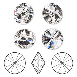a654a4444 Chaton, Swarovski® crystal rhinestone, crystal clear, foil back, 16mm  faceted rivoli (1122). Sold per pkg of 4. Other Package Size(s) Here