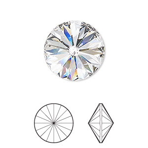 ca8d6a464 Chaton, Swarovski® crystal rhinestone, crystal clear, foil back, 18mm  faceted rivoli (1122). Sold per pkg of 2. Other Package Size(s) Here