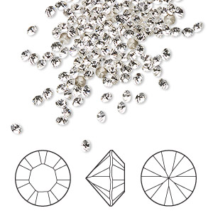 chaton, swarovski crystal rhinestone, crystal clear, foil back, 2.4-2.5mm xilion round (1028), pp18. sold per pkg of 1,440 (10 gross).