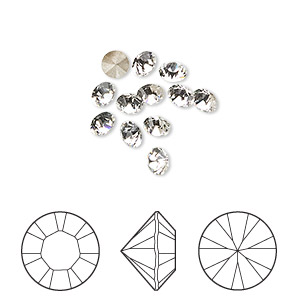chaton, swarovski crystal rhinestone, crystal clear, foil back, 4-4.1mm xilion round (1028), pp32. sold per pkg of 12.