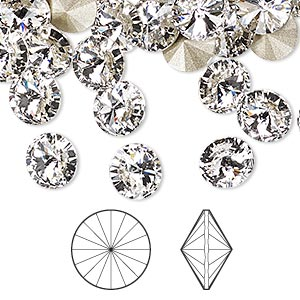 chaton, swarovski crystal rhinestone, crystal clear, foil back, 8.16-8.41mm faceted rivoli (1122), ss39. sold per pkg of 144 (1 gross).