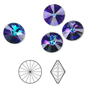 9012687cc Chaton, Swarovski® crystal rhinestone, crystal heliotrope, foil back, 14mm  faceted rivoli (1122). Sold per pkg of 4. Other Package Size(s) Here