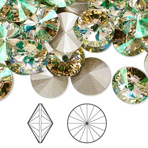 0c915ed3e Chaton, Swarovski® crystal rhinestone, crystal luminous green, foil back,  12mm faceted rivoli (1122). Sold per pkg of 4. Other Package Size(s) Here