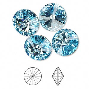 chaton, swarovski crystal rhinestone, crystal passions, aquamarine, foil back, 14mm faceted rivoli (1122). sold per pkg of 48.
