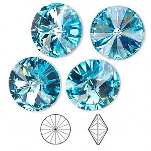 chaton, swarovski crystal rhinestone, crystal passions, aquamarine, foil back, 16mm faceted rivoli (1122). sold per pkg of 4.