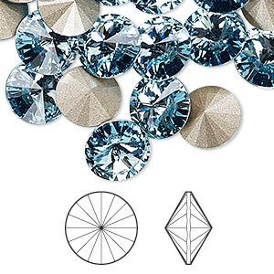 chaton, swarovski crystal rhinestone, crystal passions, aquamarine, foil back, 10.54-10.91mm faceted rivoli (1122), ss47. sold per pkg of 48.