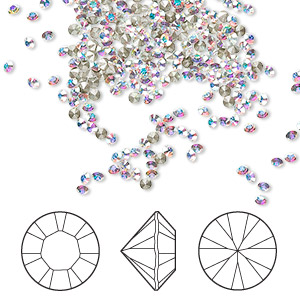 chaton, swarovski crystal rhinestone, crystal passions, crystal ab, foil back, 1.8-1.9mm xilion round (1028), pp12. sold per pkg of 144 (1 gross).