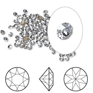 chaton, swarovski crystal rhinestone, crystal passions, crystal blue shade, foil back, 2.4-2.5mm xirius round (1088), pp18. sold per pkg of 12.