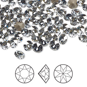 chaton, swarovski crystal rhinestone, crystal passions, crystal blue shade, foil back, 5.27-5.44mm xirius round (1088), ss24. sold per pkg of 144 (1 gross).