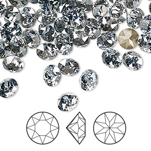 chaton, swarovski crystal rhinestone, crystal passions, crystal blue shade, foil back, 6.14-6.32mm xirius round (1088), ss29. sold per pkg of 12.
