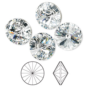chaton, swarovski crystal rhinestone, crystal passions, crystal clear, foil back, 14mm faceted rivoli (1122). sold per pkg of 4.