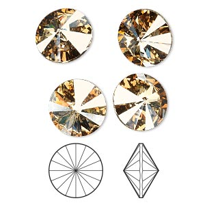 chaton, swarovski crystal rhinestone, crystal passions, crystal golden shadow, foil back, 14mm faceted rivoli (1122). sold per pkg of 4.