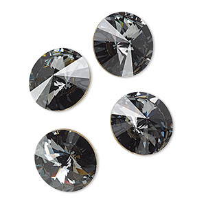 chaton, swarovski crystal rhinestone, crystal passions, crystal silver night, foil back, 14mm faceted rivoli (1122). sold per pkg of 4.
