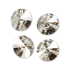 chaton, swarovski crystal rhinestone, crystal passions, crystal silver shade, foil back, 14mm faceted rivoli (1122). sold per pkg of 48.