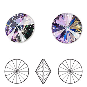 chaton, swarovski crystal rhinestone, crystal passions, crystal vitrail light, foil back, 18mm faceted rivoli (1122). sold per pkg of 2.