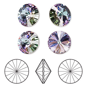 chaton, swarovski crystal rhinestone, crystal passions, crystal vitrail light, foil back, 16mm faceted rivoli (1122). sold per pkg of 4.