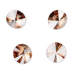chaton, swarovski crystal rhinestone, crystal passions, light rose golden shadow, foil back, 12mm faceted rivoli (1122). sold per pkg of 48.
