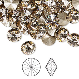 chaton, swarovski crystal rhinestone, crystal passions, light silk, foil back, 8.16-8.41mm faceted rivoli (1122), ss39. sold per pkg of 4.
