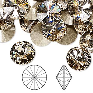 chaton, swarovski crystal rhinestone, crystal passions, light silk, foil back, 12mm faceted rivoli (1122). sold per pkg of 48.