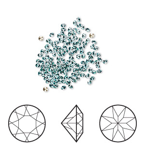 chaton, swarovski crystal rhinestone, crystal passions, light turquoise, foil back, 1.5-1.6mm xilion round (1028), pp9. sold per pkg of 144 (1 gross).